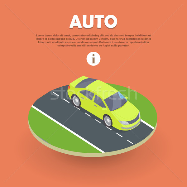 Auto on Road Web Banner. Electric Car Icon Object Stock photo © robuart