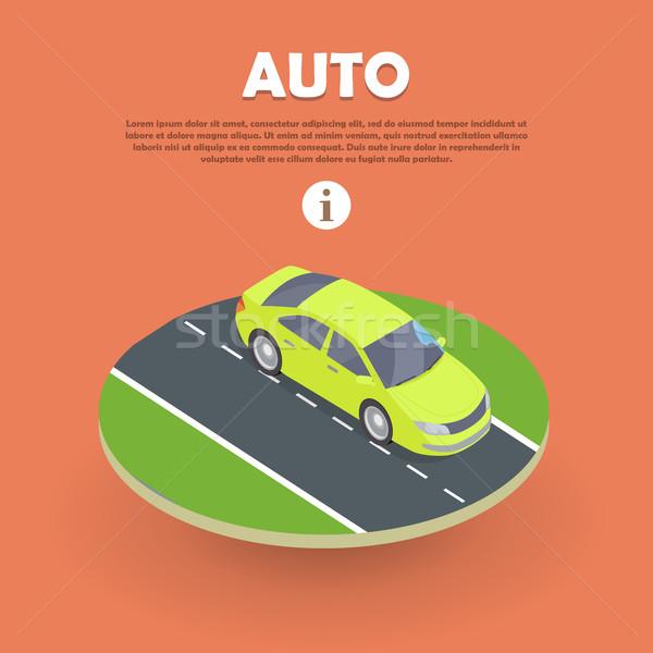 Foto stock: Auto · carretera · web · banner · coche · eléctrico · icono