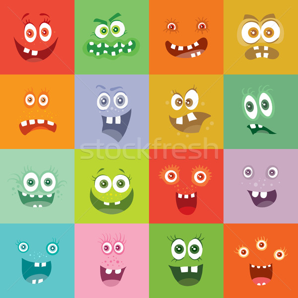 Smiling Monsters Set. Happy Germ Smile Characters Stock photo © robuart