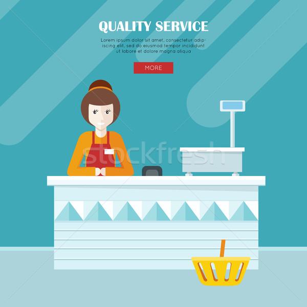 Quality Service. Shop Assistant at the Cash Desk. Stock photo © robuart