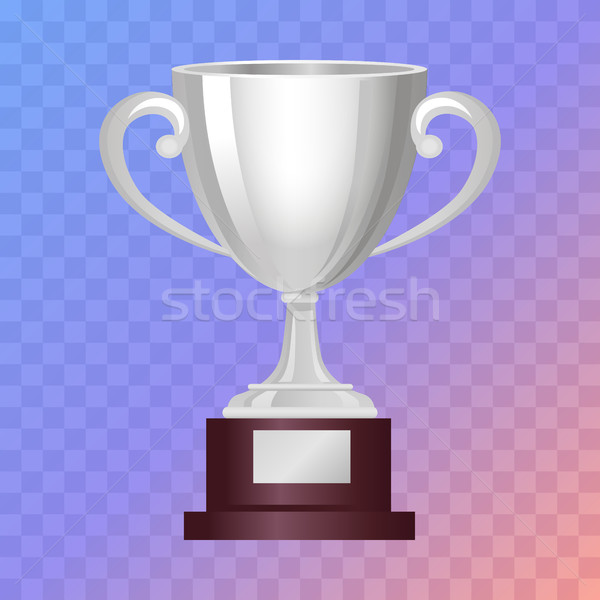 Silver Cup on Big Base with Light Blue Background Stock photo © robuart
