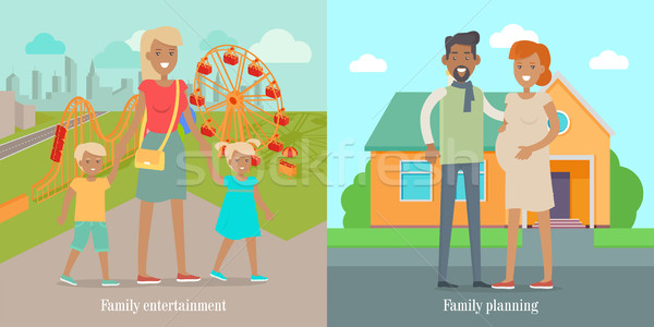 Family Entertainment and Panning Social Banners Stock photo © robuart