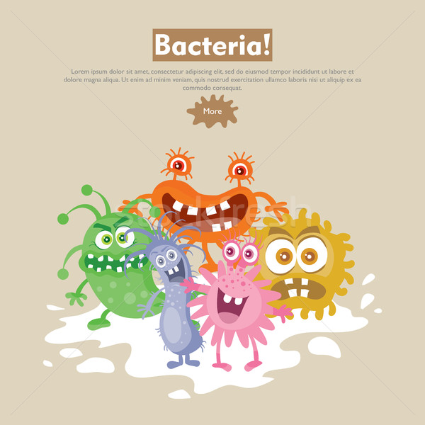 Bacteria Cartoon vector web banner grupo Foto stock © robuart