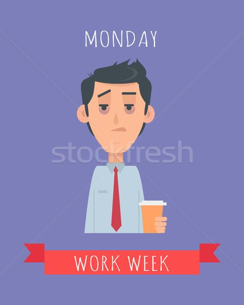 Trabalhar semana vetor projeto sonolento Foto stock © robuart