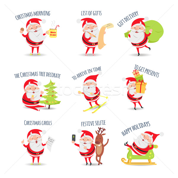 Santa Claus Routine. Collection of Illustrations Stock photo © robuart