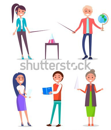 Student Standing and Reading Textbook Flat Vector  Stock photo © robuart