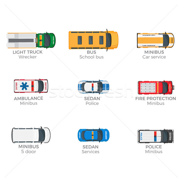 Emergency Vehicles Top View Vector Icons Set Stock photo © robuart