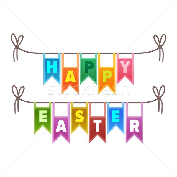 Photo stock: Joyeuses · pâques · félicitation · signe · illustration · coloré · lettres