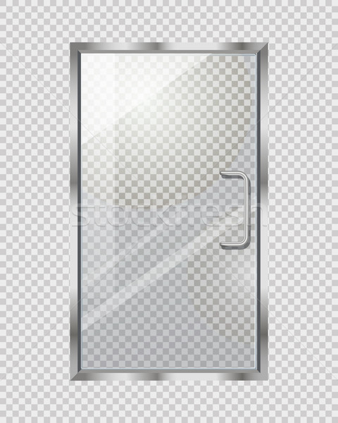 Transparent Door on Grey Checkered Background Stock photo © robuart
