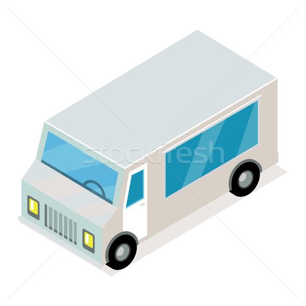 Bağbozumu gri kamyonet izometrik projeksiyon vektör simgesi Stok fotoğraf © robuart