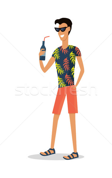 Sommerurlaub Vergnügen jungen lächelnd Mann Strand Stock foto © robuart