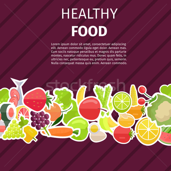 Healthy Food Banner with Fruits and Vegetables Stock photo © robuart