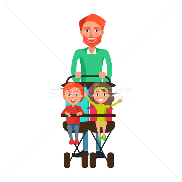 Father Carrying Kids on Two Seat Stroller Vector Stock photo © robuart