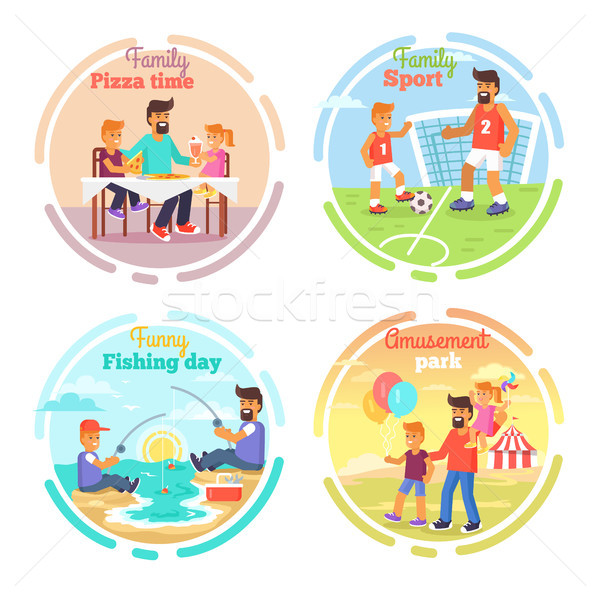 Father s Day Card with Happy Dads and Children Stock photo © robuart