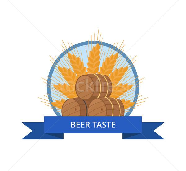 Bière goût conception de logo bois vecteur cercle Photo stock © robuart
