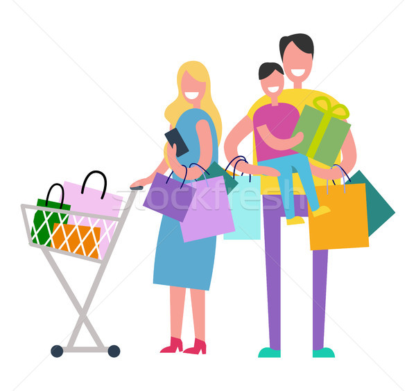 Winkelen familie witte vol geluk gekocht Stockfoto © robuart