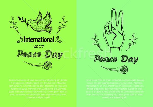 Internazionali pace giorno poster set manifesti Foto d'archivio © robuart
