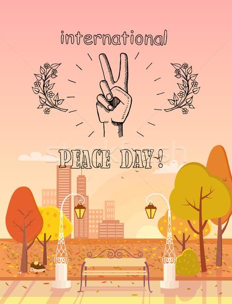 International Peace Day Emblem Autumn Theme Stock photo © robuart