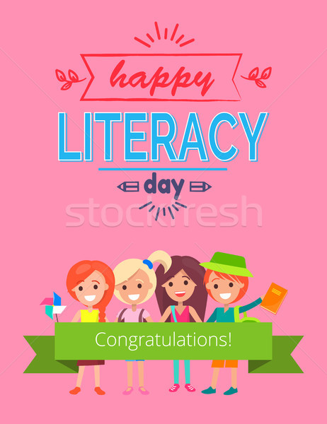 Happy Literacy Day Pink Vector Illustration Stock photo © robuart
