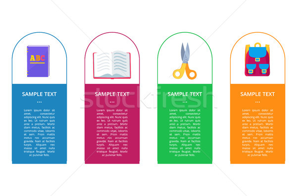 Сток-фото: набор · Баннеры · Кнопки · объекты · книга · открытых