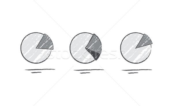 Pie Diagram Data Grey Color Vector Illustration Stock photo © robuart