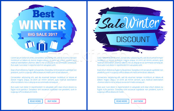 Winter Big Sale 2017 Vector Landing Page Posters Stock photo © robuart