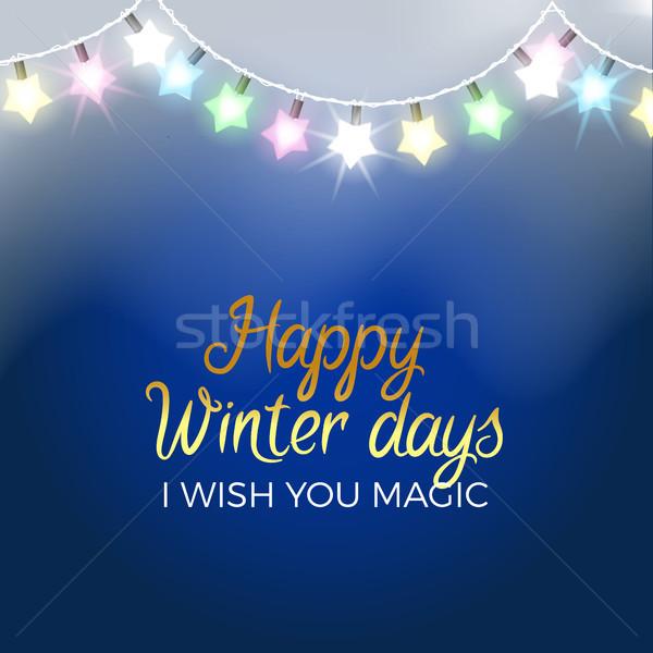 Happy Winter Days Poster I Wish you Magic Vector Stock photo © robuart