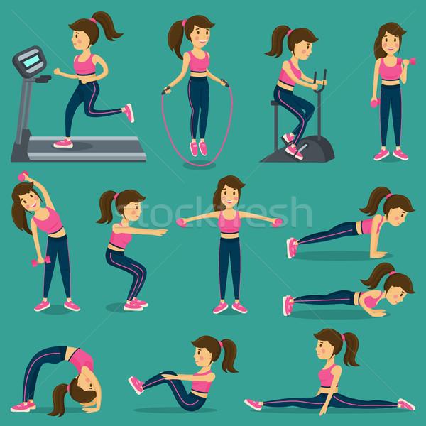 Mujer ejercicio formación aparato saltar la cuerda Foto stock © robuart