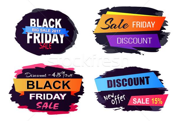 Black friday venda adesivos grande novo oferecer Foto stock © robuart