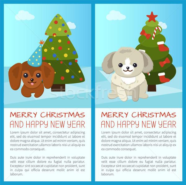 веселый Рождества сосна набор с Новым годом Последние новости Сток-фото © robuart