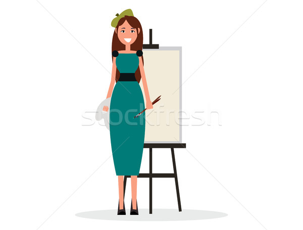 Pretty Painter in Beret with Brushes and Easel Stock photo © robuart