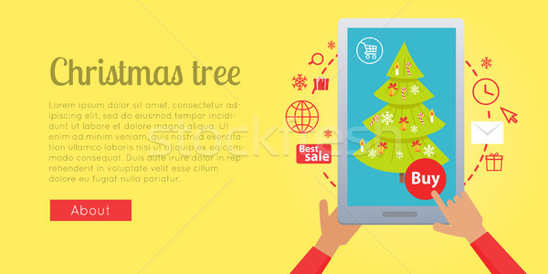 Banner of Buying Christmas Tree via the Internet Stock photo © robuart