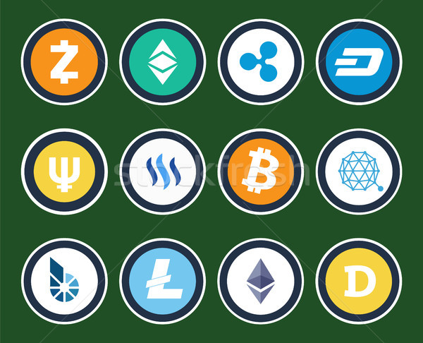 Modern Cryptocurrency Signs Inside Circles Set Stock photo © robuart