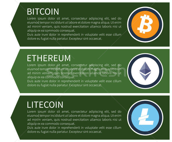 Orange Bitcoin, White Ethereum and Blue Litecoin Stock photo © robuart