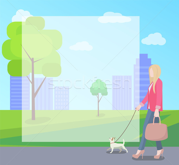 Stylish Woman Walking with Her Small Dog in Park Stock photo © robuart