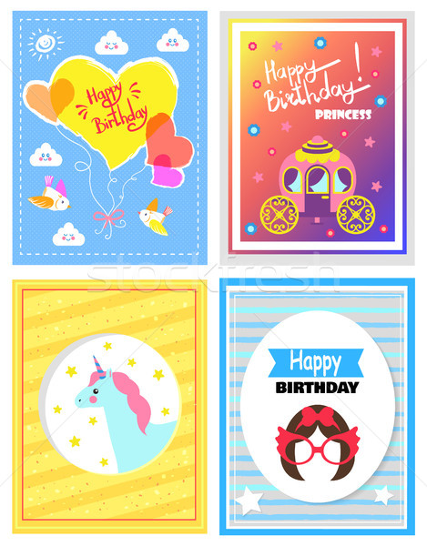 Set of Cute Festive Cards, Happy Birthday Princess Stock photo © robuart
