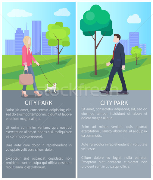 Stockfoto: Stad · park · posters · zakenman · cute · dame