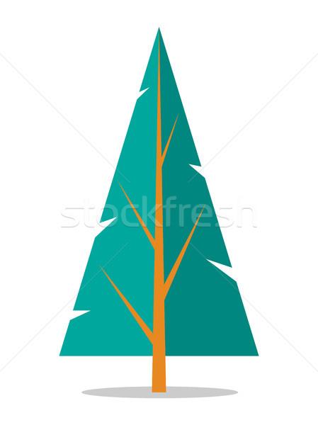 Wystroić ikona odizolowany biały drzewo widoczny Zdjęcia stock © robuart