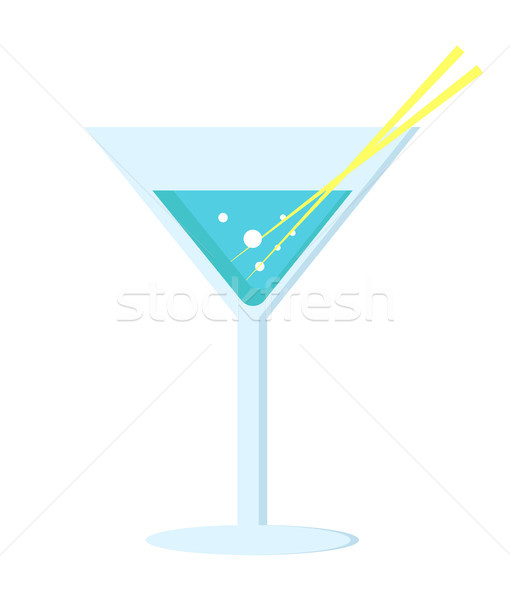 Margarita Cocktail in Glass Long Leg with Umbrella Stock photo © robuart