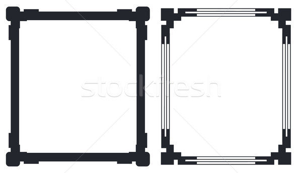 Colorless Black Frames with Decorative Corners Vector Stock photo © robuart