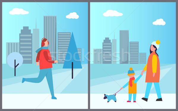 Férfi síel család sétál kutya aktív Stock fotó © robuart