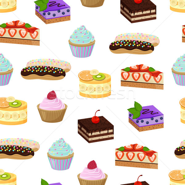 Cakes and Sweet Bakery Pattern Vector Illustration Stock photo © robuart