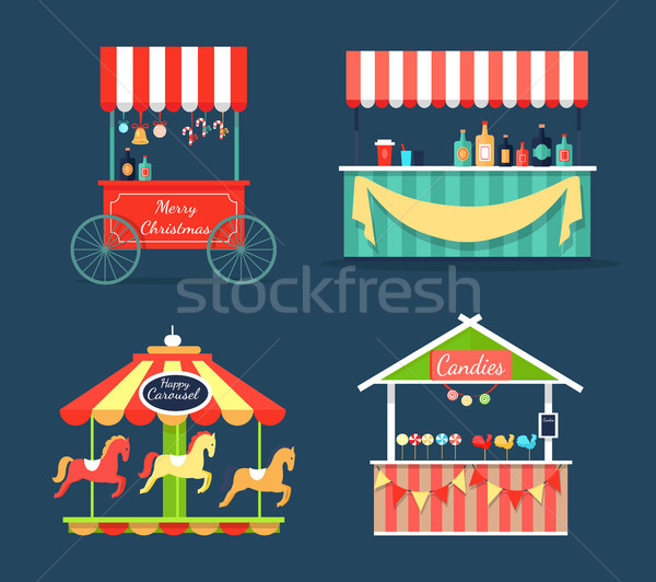 Bright Fair Counters and Funny Merry-Go-Round Set Stock photo © robuart