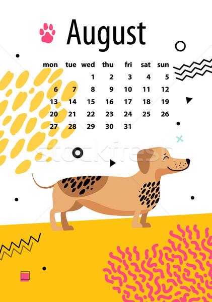 Agosto calendario anno divertente bassotto nero Foto d'archivio © robuart