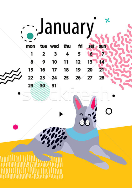 January Calendar for 2018 Year with Calm Doberman Stock photo © robuart