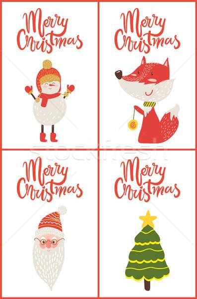 Alegre Navidad carteles muñeco de nieve Fox Foto stock © robuart