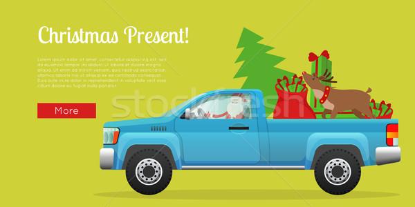 Christmas Present Web Banner with Santa on Pickup Stock photo © robuart
