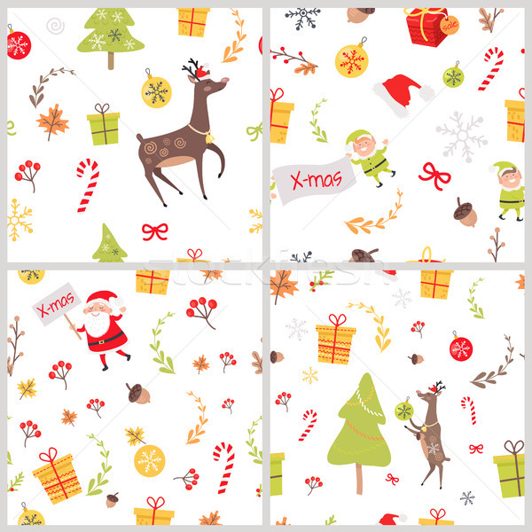 Set of Seamless Patterns with Christmas Elements Stock photo © robuart