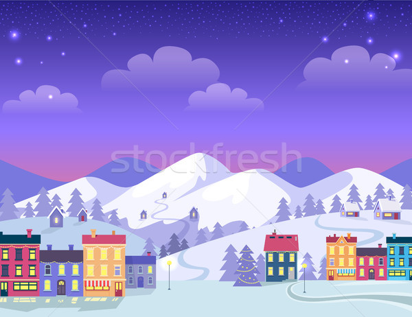 Christmas Town with Decorated Houses and Hills Stock photo © robuart