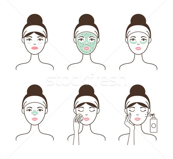 Bőr természetes maszk szett női modell Stock fotó © robuart
